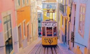 The Ascensor da Bica in Lisbon, Portugal.