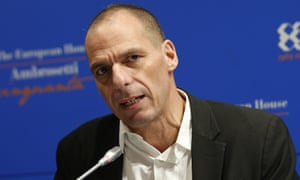 Greece's finance minister, Yanis Varoufakis, speaking in Italy on 14 March.