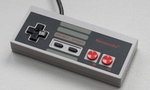 A control pad for the Nintendo Entertainment System, launched in 1983