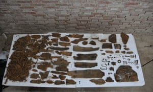 The parts of a casket discovered at Madrid's Convento de las Monjas Trinitarias Dexcalzas.