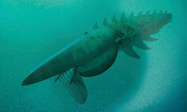The reconstruction of a filter-feeding Aegirocassis benmoulae from the Ordovician Period feeding on a plankton cloud is shown in this artist rendering released to Reuters on March 10, 2015.