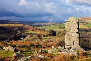 Bowerman's Nose on Hayne Down overlooking Dartmoor national park, Devon.