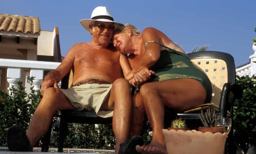 Tanned elderly retired British couple living in Costa Blanca