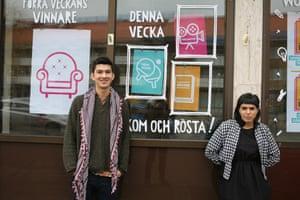 Joshua Ng and Julieta Talavera outside the Connectors project in Malmö.