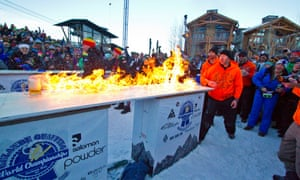 Team Storm Show lights the 10-ft bar top on fire during the final round of the 8th Annual Gelande Quaff World Championship in Jackson, Wyoming.