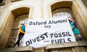 Oxford alumni supporting the divestment campaign stage a protest and sit-in in the Clarendon Building, Oxford University.