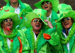 Crowds enjoy the Dublin St Patrick's day parade, as it makes its way down O'Connell Street towards St Patrick's Cathedral