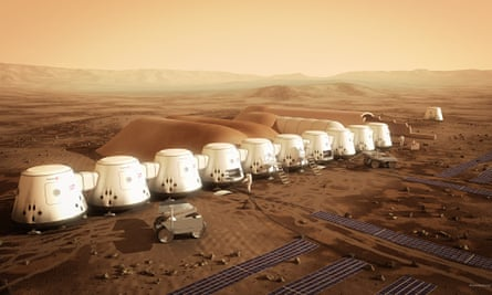 An artist's impression of the Mars One settlement