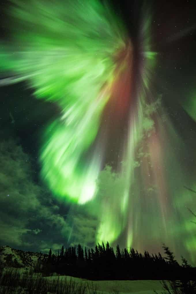 The aurora photographed at Donnelly Creek in  Alaska.