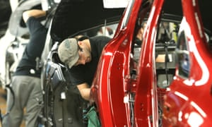 A production line at Nissan's vehicle assembly plant in Sunderland