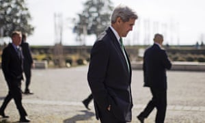 US Secretary of State John Kerry takes a contemplative walk in the grounds of Lausanne's Beau-Rivage hotel during a break in negotiations   AFP PHOTO / POOL / BRIAN SNYDERBRIAN SNYDER/AFP/Getty