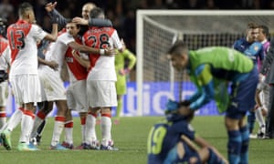 Monaco celebrate after their Champions League triumph over Arsenal.