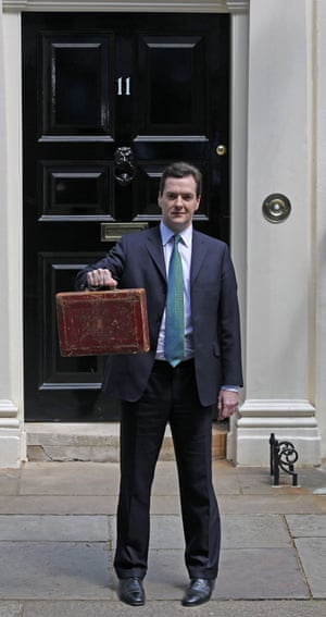 George Osborne holds Gladstone's original budget box on 22 June 2010.