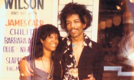 Jimi and Lithofayne outside the Apollo, 1969