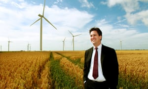 Ed Miliband when he was secretary of state for energy and climate change at RWE npower renewables' Little Cheyne Court Wind Farm,  England.