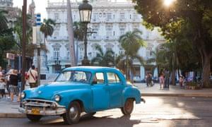 A 1950s car, synonymous with Cuba, parked in Havana Vieja, Havana