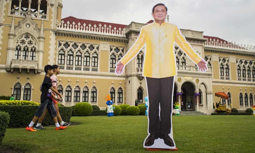 A cardboard cutout of General Prayuth Chan-ocha