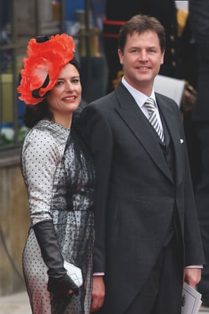 Miriam González Durántez and husband Nick Clegg at William and Kate's wedding in 2011