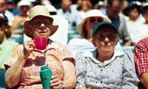 Two old ladies watching tennis at Wimbledon