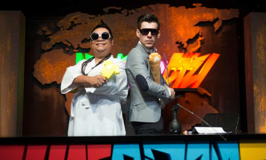 A family affai: Winyu 'John' Wongsurawat co-hosts Shallow News in Depth, Thailand's most popular political satire TV show with his brother-in-law Nattapong Tiendee while his sister Janya 'Rosie'    Wongsurawat is the lead writer.