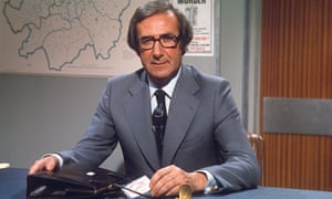 Shaw Taylor presenting Police 5 in 1976. His famous catchphrase was 'Keep 'em peeled'. Photograph: Rex
