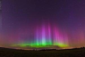 Aurora borealis over Poznan, Poland.