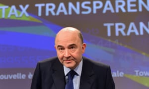 EU commissioner Pierre Moscovici holds a press conference in Brussels on tax and financial transparency