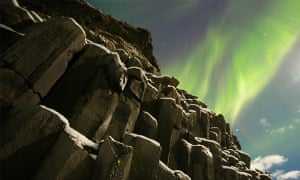 Northern Lights in Iceland. 'The basalt columns are pretty famous around here and make a great foreground. The light show was pretty spectacular.'