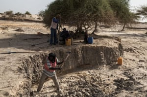 Digging banco, the primary building material for mosques and old buildings in Timbuktu.