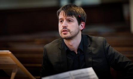 Director Thomas Foster during a rehearsal for Catone in Utica.