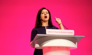 Caroline Flint, shadow energy and climate change minister speaking at the Labour party annual conference in Manchester.