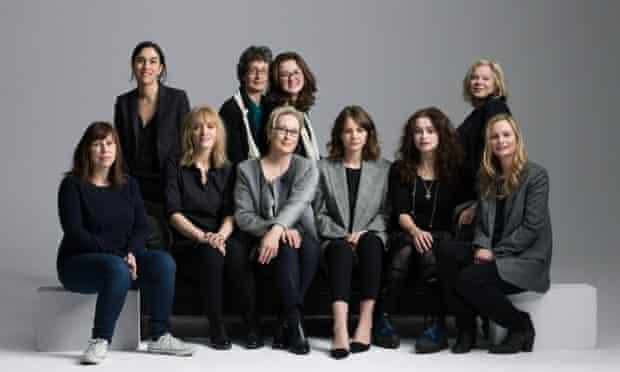 Telling the story of the suffragette movement... back row (L-R): Sarah Gavron (director), Helen Pankhurst (great-granddaughter of Emmeline Pankhurst), Laura Pankhurst (great-great-granddaughter of Emmeline Pankhurst), Alison Owen (producer); front row (L-R): Abi Morgan (screenwriter), Anne-Marie Duff (actor), Meryl Streep (actor), Carey Mulligan (actor), Helena Bonham Carter (actor), Faye Ward (producer).