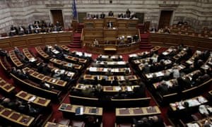 Alexis Tsipras, Greek prime minister, addresses parliament