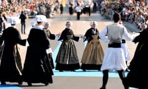 Folk dancers in Brittany