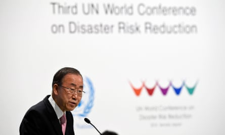 UN secretary general Ban Ki-moon delivers a speech during the opening ceremony of the third UN World Conference on Disaster Risk Reduction in Sendai, Japan.