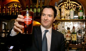 George Osborne with a pint of beer