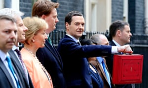 Chancellor of the Exchequer George Osborne stands with his Treasury team outside 11 Downing Street, London, before heading to the House of Commons to deliver his annual Budget statement.