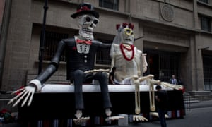 Props for the filming in Mexico City of the new James Bond movie Spectre, which includes scenes based around the Day of the Dead celebration.