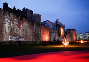 The Tower of London last night with burning pyres and red carpet