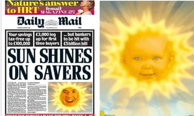 Daily Mail's budget front page: inspired by the Teletubbies?