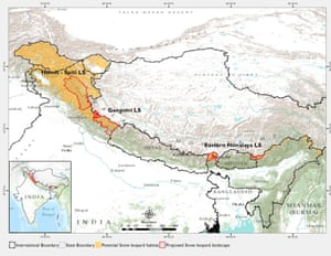 Draft map showing snow leopard habitat and proposed landscapes for conservation.