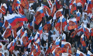 Russian football fans at the 2014 Fifa World Cup qualifying match at the Petrovsky Stadium.