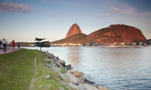 Botafogo beach in Guanabara Bay and Sugar Loaf Mountain beyond.