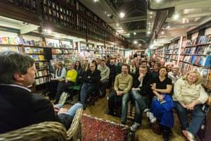 Author Simon Armitage speaks to a full crowd at Daunt Books, Marylebone.
