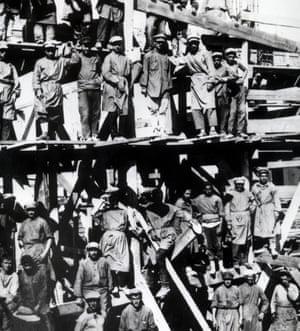 Circa 1930: Russian prisoners