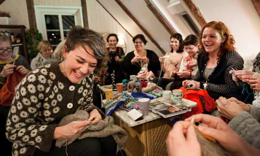 Nell Frizzell with Faroese women ahead of their knitting festival.