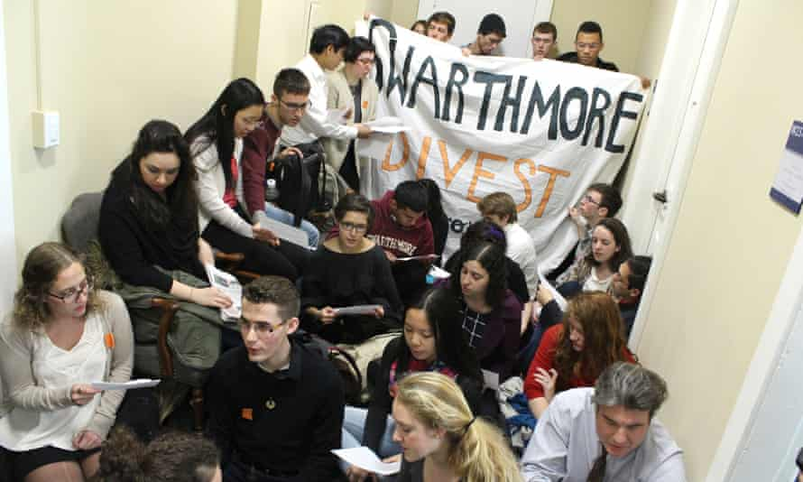 Swarthmore college divestment sit-in, US