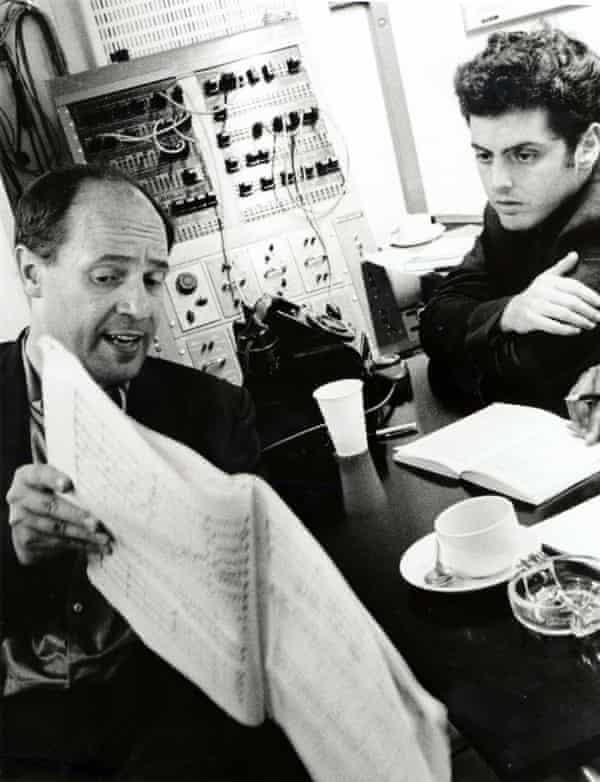 Pierre Boulez with Daniel Barenboim at Abbey Road Studios, London, in 1967