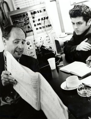 Pierre Boulez with Daniel Barenboim at Abbey Road Studios, London, in 1967