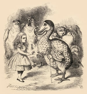 The Dodo solemnly presents Alice with a thimble, by Tenniel.
